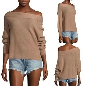 Free People Alana Off the Shoulder Brown Sweater